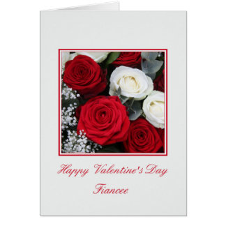 Fiancee  Happy Valentine's Day Roses Greeting Card