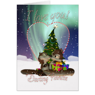 Fiancee I Love You Christmas Card With Loving Squi