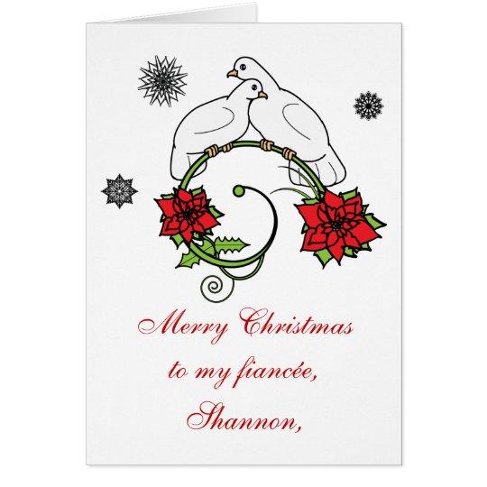 Fiancée Name Customisable: Christmas Doves Card