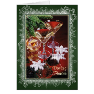 Fiancee - Romantic Christmas card.Glasses of wine Greeting Card