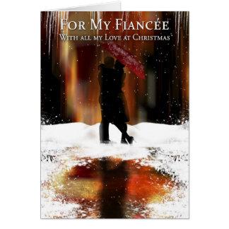 Fiancee Stylish Christmas Holiday Card With Couple
