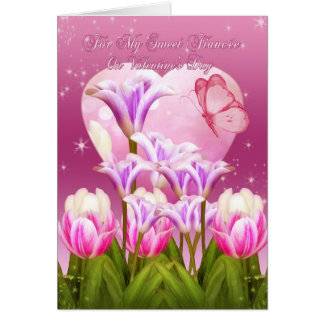 Fiancee Valentine s Day Card - Flowers And Butterf