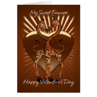 Fiancee Valentine's Day Card With Two Loving Giraf