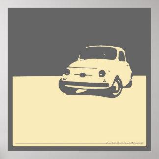 Fiat 500, 1959 - Cream on gray Poster