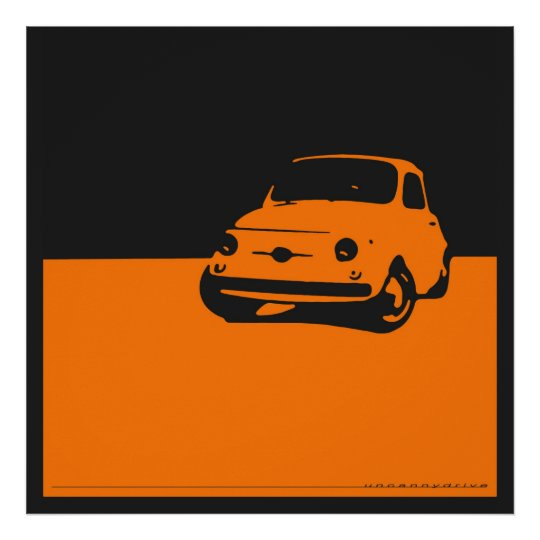 Fiat 500, 1959 - Orange on black poster