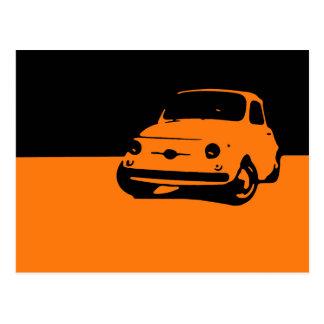 Fiat 500, 1959 - Orange on dark postcard