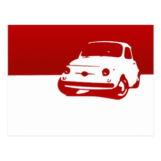 Fiat 500, 1959 - Red on light Postcard
