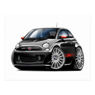 Fiat 500 Abarth Black Car Postcard