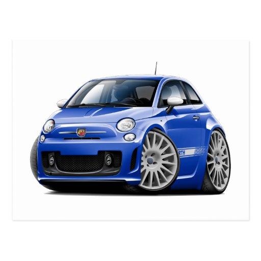 Fiat 500 Abarth Blue Car Postcard Zazzle