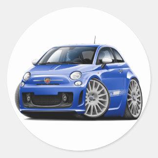 Fiat 500 Abarth Blue Car Round Sticker