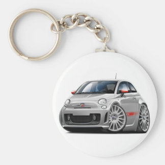 Fiat 500 Abarth Grey Car Basic Round Button Key Ring