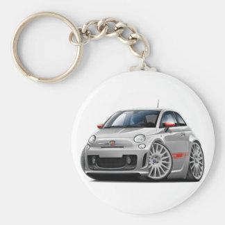 Fiat 500 Abarth Grey Car Basic Round Button Key Ring
