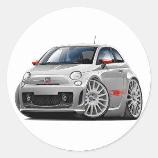Fiat 500 Abarth Grey Car Round Sticker