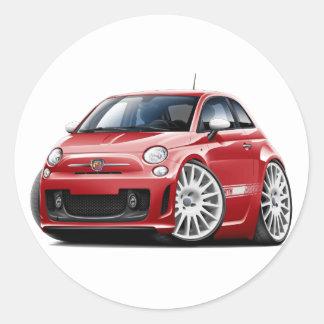 Fiat 500 Abarth Red Car Round Sticker