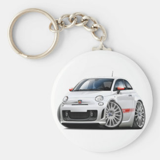 Fiat 500 Abarth White Car Basic Round Button Key Ring
