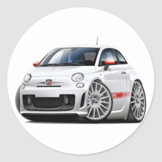 Fiat 500 Abarth White Car Classic Round Sticker