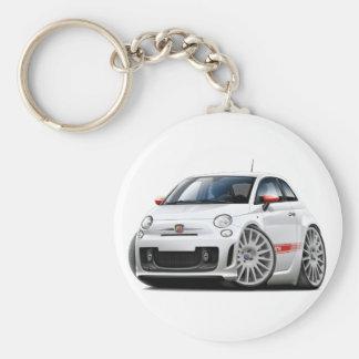 Fiat 500 Abarth White Car Basic Round Button Key Ring