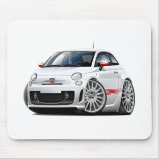 Fiat 500 Abarth White Car Mouse Mat
