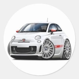 Fiat 500 Abarth White Car Round Sticker