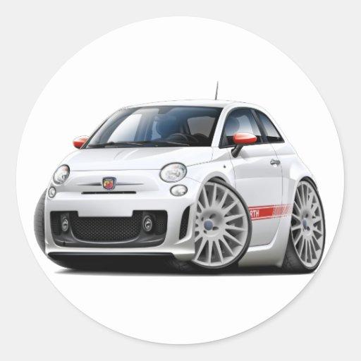 fiat 500 abarth white car round sticker zazzle. Black Bedroom Furniture Sets. Home Design Ideas