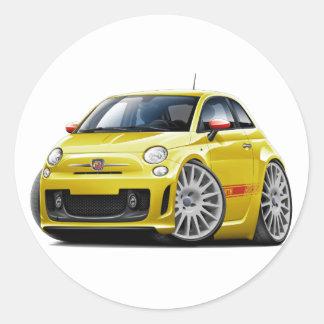 Fiat 500 Abarth Yellow Car Round Sticker