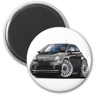 Fiat 500 Black Car 6 Cm Round Magnet