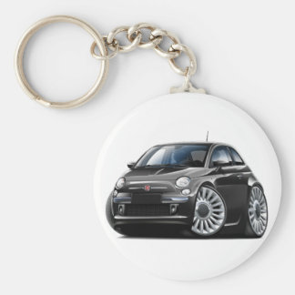 Fiat 500 Black Car Basic Round Button Key Ring
