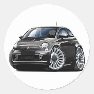 Fiat 500 Black Car Round Sticker