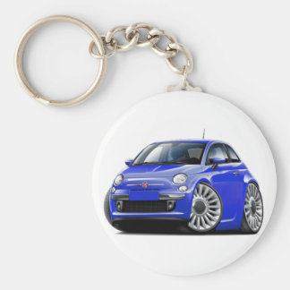 Fiat 500 Blue Car Basic Round Button Key Ring