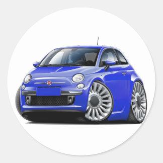 Fiat 500 Blue Car Round Sticker