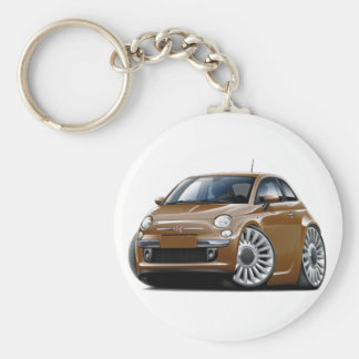 Fiat 500 Brown Car Basic Round Button Key Ring
