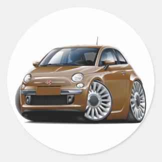 Fiat 500 Brown Car Round Sticker