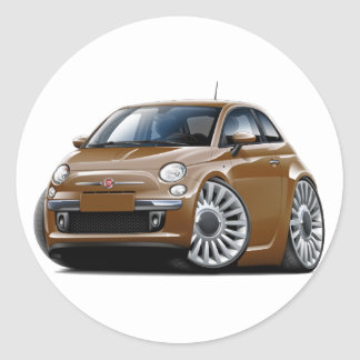 Fiat 500 Brown Car Classic Round Sticker