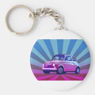 Fiat 500 Bunt Basic Round Button Key Ring