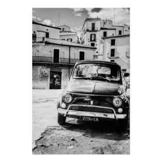 Fiat 500, cinquecento in Italy, classic car gift Poster