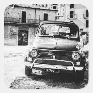 Fiat 500, cinquecento in Italy, classic car gift Square Sticker