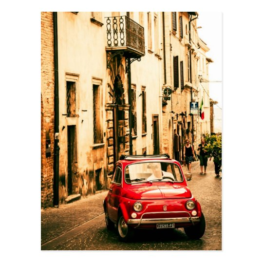 fiat 500 cinquecento in italy postcard. Black Bedroom Furniture Sets. Home Design Ideas