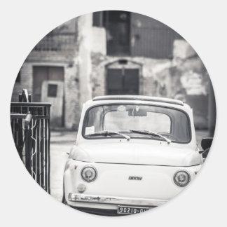 Fiat 500, Cinquecento in Italy Round Sticker
