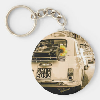 Fiat 500 Cinquecento in Italy, vintage road trip. Basic Round Button Key Ring