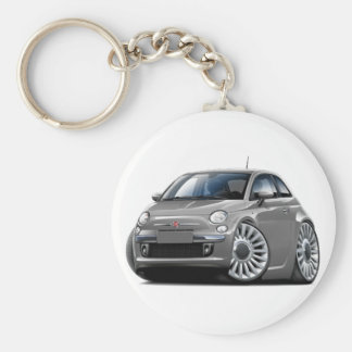 Fiat 500 Grey Car Basic Round Button Key Ring