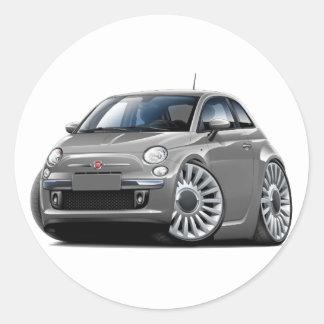 Fiat 500 Grey Car Round Sticker