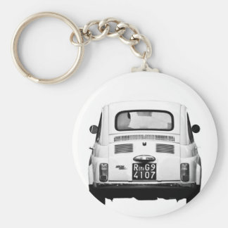 Fiat 500 in Rome, Italy. Basic Round Button Key Ring