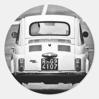 Fiat 500 in Rome, Italy Classic Round Sticker