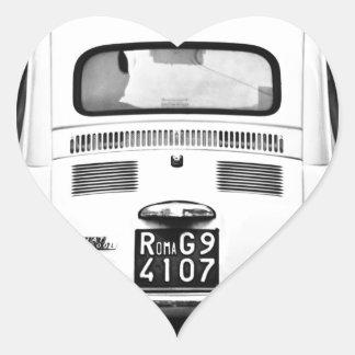 Fiat 500 in Rome, Italy. Heart Sticker