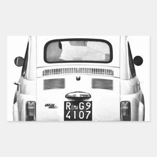 Fiat 500 in Rome, Italy. Rectangular Sticker