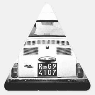 Fiat 500 in Rome, Italy. Triangle Sticker