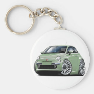 Fiat 500 Lt Green Car Basic Round Button Key Ring