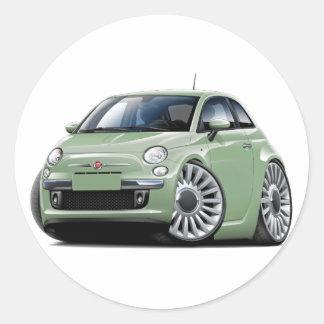 Fiat 500 Lt Green Car Round Sticker