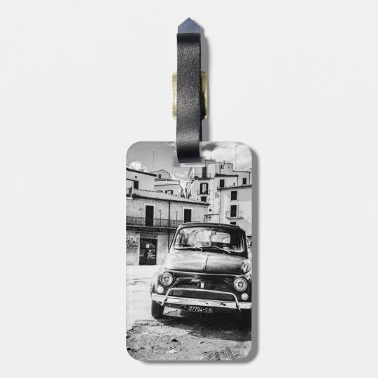 Fiat 500 Luggage tag, classic Italian Car Luggage