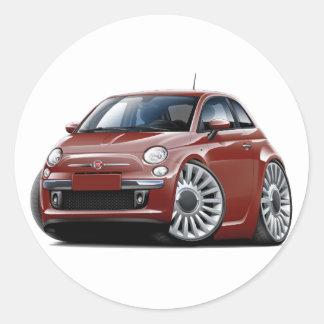 Fiat 500 Maroon Car Round Sticker